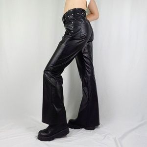90's faux leather studded biker pants
